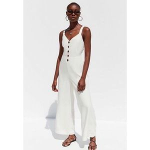 Urban Outfitters White Linen Jumpsuit